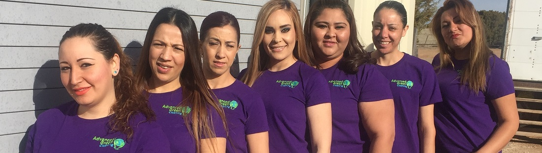 Seven woman smiling at the camera wearing purple shirt with the company logo advanced green cleaning Albuquerque