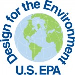 a circle logo with a word design for the Environment and U.S. EPA, at the center of the words is a globe