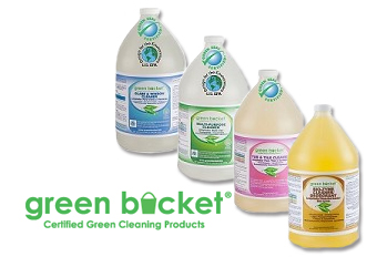 "four gallons of green cleaning products each has their own label, at the left is a phrase saying ""green bucket, certified green cleaning products"