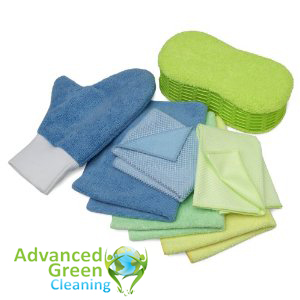 cleaning tools, clothes and mops in different colors that are blue, green and yellow, at the bottom left of the picture is the advanced green cleaning Albuquerque logo