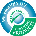 "a circle logo with blue and green colors, the blue bar has ""we proudly use"" and the green has ""certified products"" in the middle is a some sort of globe and a green check with the word green seal at the top of the sphere"