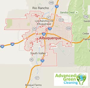 a map of Albuquerque serviced area, the yellow lines resemble roads at the bottom right is the advanced green cleaning logo