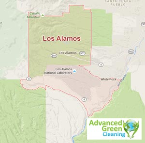 Los alamos service area map of cleaning professionals in Advanced green cleaning, the red lines represents the boundary of the area, at the bottom is the logo of advanced green cleaning