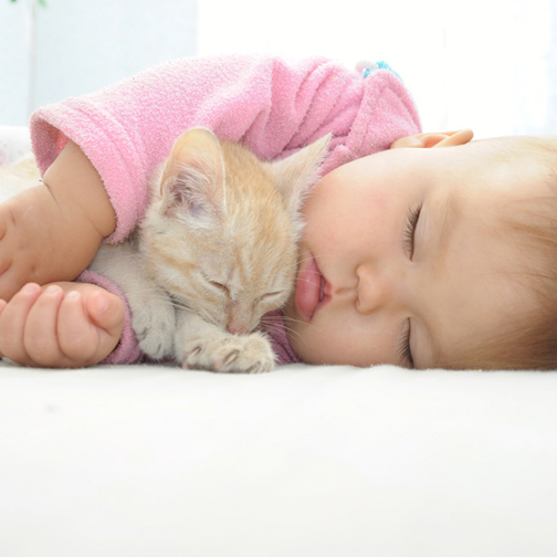 a baby and an orange kitten sleeping, the baby is hugging the kitten