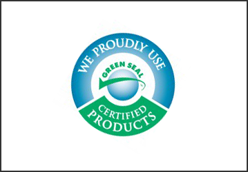 "a circle logo with a blue and green color combination, the blue bar has words saying ""we proudly use"" while the green one at the bottom says ""certified products"" at the middle is a sphere with a green check and at the top of the sphere is a word saying ""green seal"" its a logo of santa fe cleaning company"